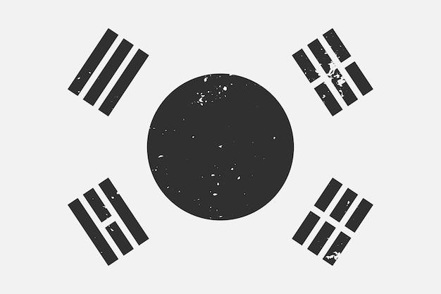 Schwarz-weiß-flagge südkorea im grunge-stil