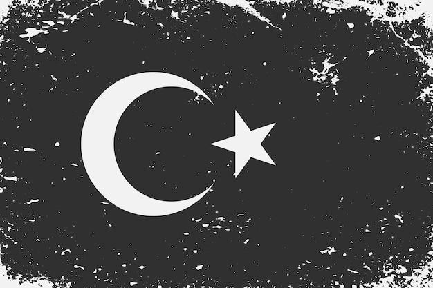 Schwarz-weiß-flagge türkei im grunge-stil