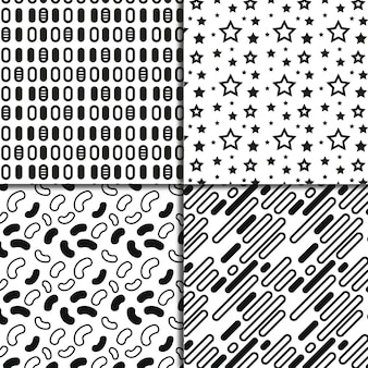 Schwarz-weiß-geometrische formen muster hintergrund sammlung