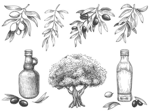 Schwarz-weiß graviertes olivenöl