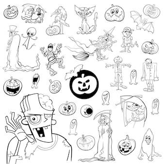 Schwarz-weiß-halloween-set