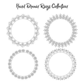 Schwarz-weiß-hand gezeichnet blume ringe sammlung