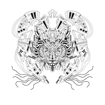Schwarz-weiß-hand gezeichnete illustration lion mecha roboter