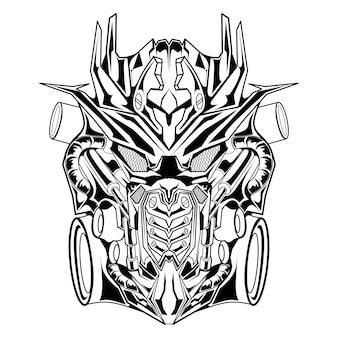 Schwarz-weiß-hand gezeichnete illustration roboter mecha