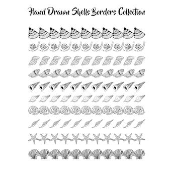 Schwarz-weiß-hand gezeichneten muscheln grenzen sammlung