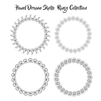 Schwarz-weiß handgezeichneten muscheln ringe sammlung