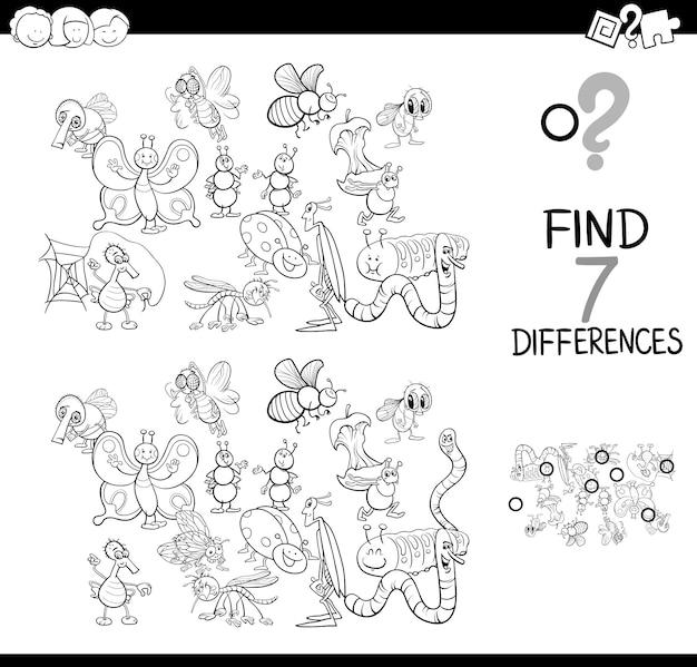 Schwarz-weiß-illustration der unterschiede spiel