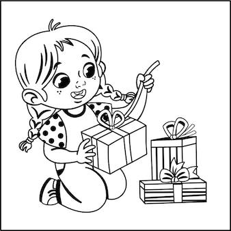 Schwarz-weiß-illustration des süßen kleinen mädchens, das geschenkpakete öffnet vektorillustration