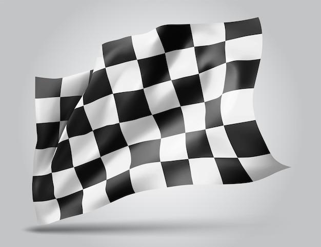 Schwarz-weiß karierte flagge, 3d-brei auf weißem hintergrund
