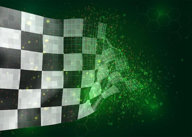 Schwarz-weiß karierte vektor-3d-flagge auf grünem hintergrund mit polygonen und datennummern