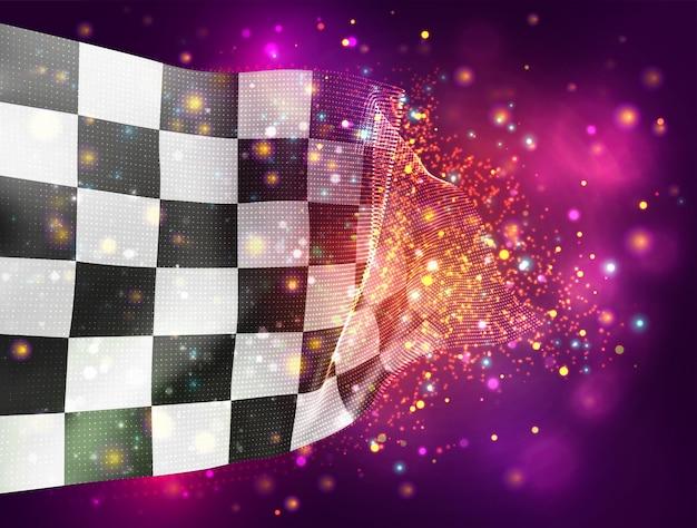 Schwarz-weiß karierte vektor-3d-flagge auf rosa lila hintergrund mit beleuchtung und fackeln