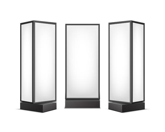 Schwarz-weiß-leuchtende rechteckige plakatständer-säulen für innenwerbung vorderseitenansicht lokalisiert auf hintergrund