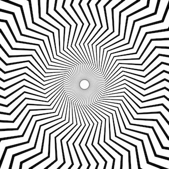 Schwarz-weiß-linien-kunstrahmen mit zick-zack-wirbelkreis. vektor-illustration.