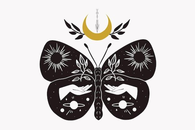 Schwarz-weiß-linolschnittart der mystischen mondmotte. illustration hand gezeichnet