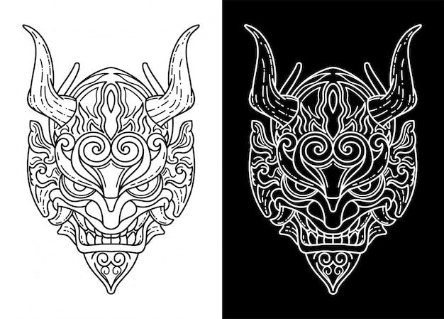 Schwarz-weiß-oni-maske, monoline-design