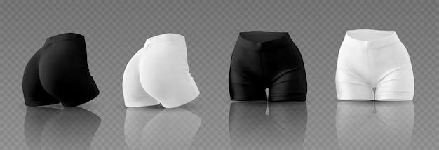 Schwarz-weiß-radhose für frauen in unterschiedlicher position