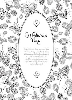 Schwarz-weiß-rahmen-gekritzelgrußkarte mit vielen hopfenzweigen, blüte und gruß mit traditionellem st. patricks day vektor-illustration