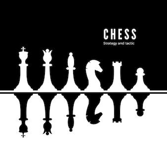 Schwarz-weiß-schachfiguren gesetzt