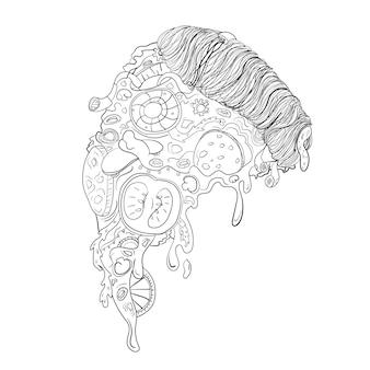 Schwarz-weiß-scheiben-pizza mit gemüse und fleisch mit strichzeichnungen oder doodle-stil - street food
