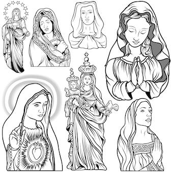 Schwarz-weiß-set von jungfrau maria
