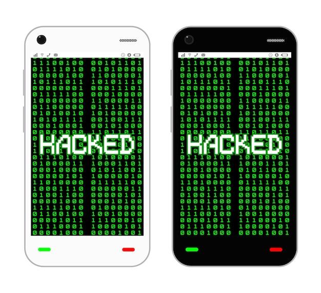 Schwarz-weiß-smartphone gehackt vektor