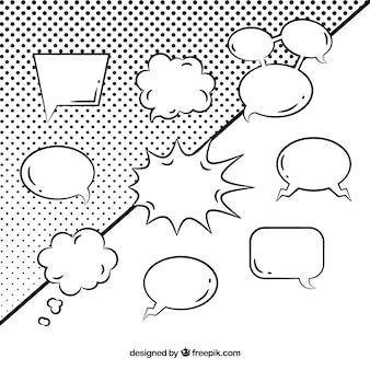 Schwarz-weiß-sprechblasen-sammlung