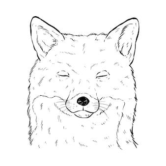 Schwarz-weiß-süßer fuchskopf mit handzeichnung oder skizzenstil