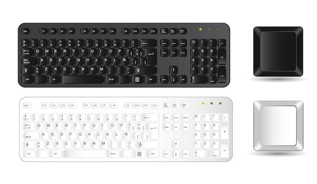 Schwarz-weiß-tastatur und tasten