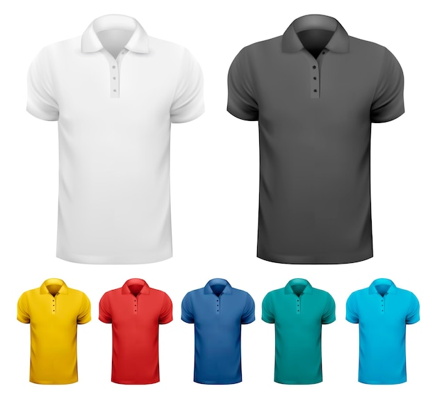 Schwarz-weiß- und farbmänner-t-shirts. designvorlage.