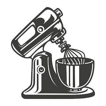 Schwarz-weiß-vektor-illustration eines mixers auf weißem hintergrund.