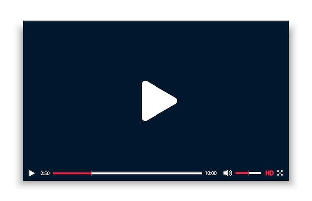 Schwarz-weiß-videoplayer-vorlage mit schatten