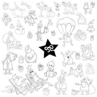 Schwarz-weiß-weihnachten-cartoon-set