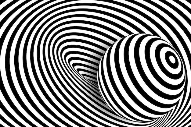 Schwarz-weiße 3d-linie verzerrung illusion design vector monochromen hintergrund