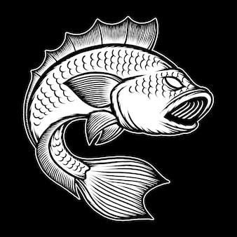 Schwarz-weiße große bassfischillustration. premium-vektor