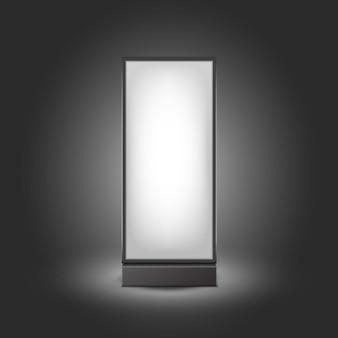 Schwarz-weiße leuchtende rechteckige plakatständer-säulen für innenwerbung vorderansicht lokalisiert auf hintergrund