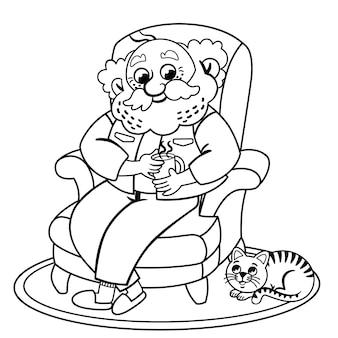 Schwarz-weißer alter mann, der sich zu hause mit seiner katze ausruht vektorillustration