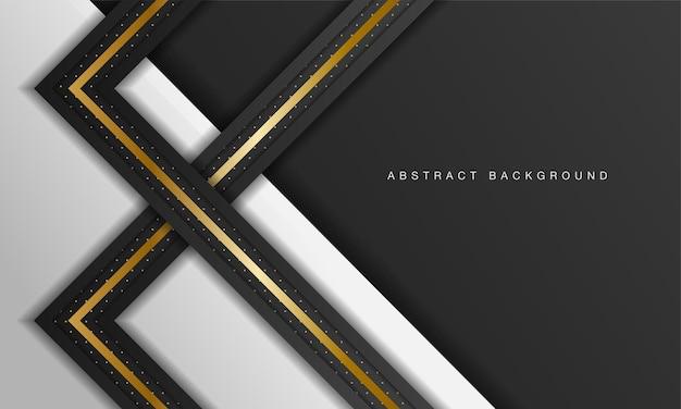 Schwarz-weißer diagonaler luxushintergrund mit goldenem element