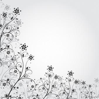 Schwarz-weißer hintergrund mit blumen im grunge-stil