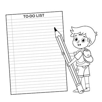 Schwarz-weißer schuljunge mit einer to-do-liste vektor-illustration