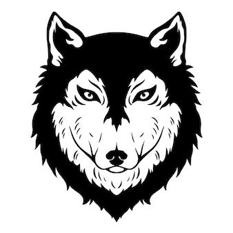 Schwarz-weißer wolfskopf mit handzeichnungsstil