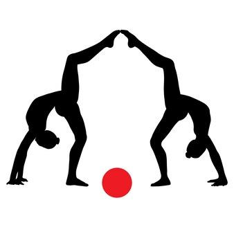 Schwarz-weißes silhouettenbild der figuren der sportlerinnen gymnastik