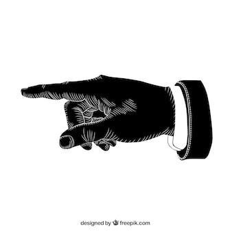 Schwarz zeigende hand