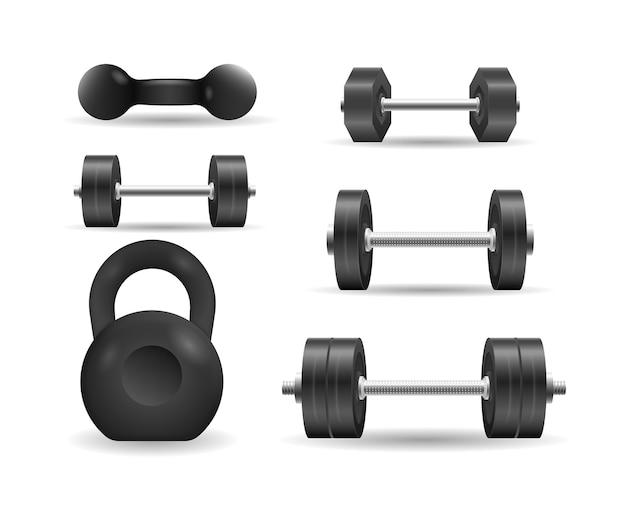 Schwarze 3d-kurzhantel des metalls lokalisiert auf weißem hintergrund. vintage set ikonen der langhantel, hantel. embleme von stahlhanteln für bodybuilding und fitness.