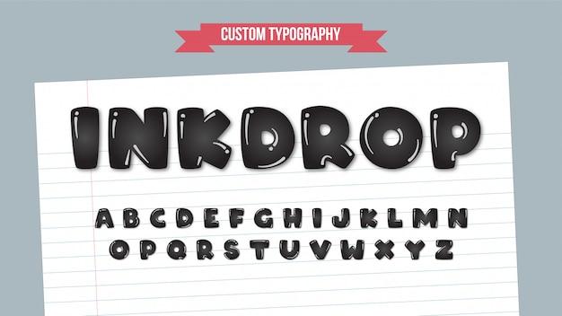 Schwarze abgerundete tinte fallen cartoon typografie