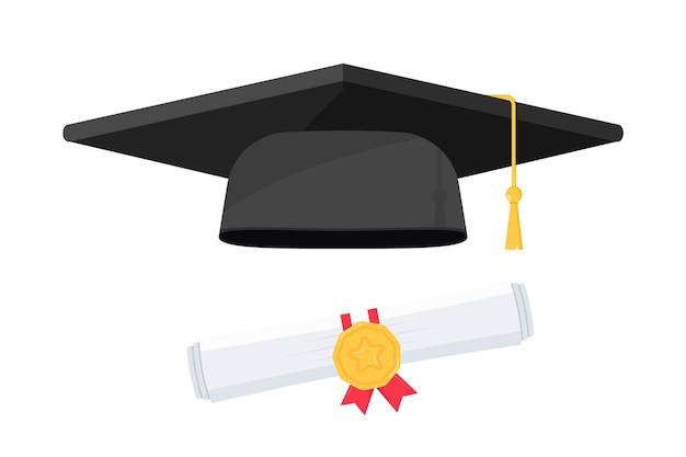 Schwarze abschlusskappe mit abschluss. schwarzer hut eines hochschulabsolventen, designelemente. abschlusskappe und diplom. element für abschlussfeier und bildungsprogramme. abschluss universität oder fachhochschule