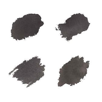Schwarze abstrakte aquarellpinselstriche, handfarbe.
