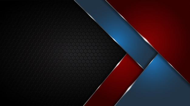 Schwarze abstrakte matte geometrische rote und blaue hintergrund elegantes futuristisches glänzendes rot und blau