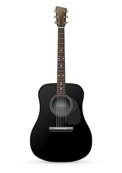 Schwarze akustikgitarre - illustration