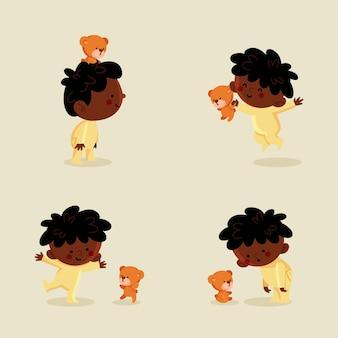 Schwarze babypackung der karikatur Premium Vektoren