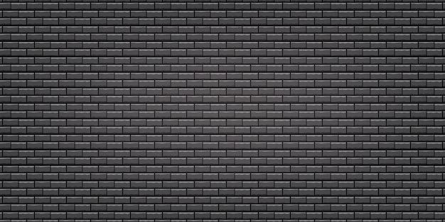 Schwarze backsteinmauer-texturillustration, die als hintergrund und tapete mit kopienraum verwendet.